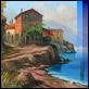 Dipinti ad Olio - Luigi Spadini - Casolari sulla riva del lago